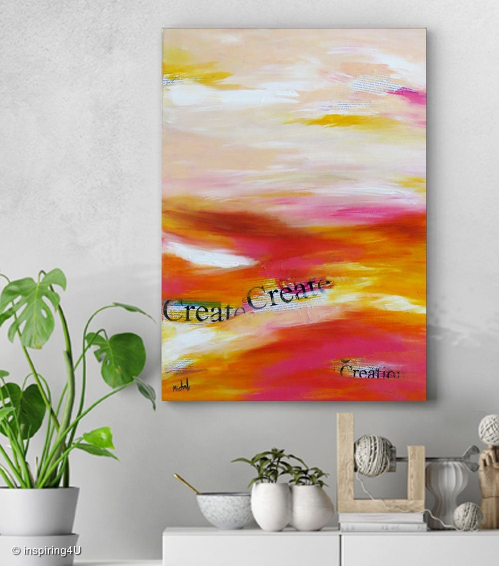 Original Painting. Inspirational Acrylic Paint on canvas. Abstract one of a kind Motivational picture with typography. wall decor.