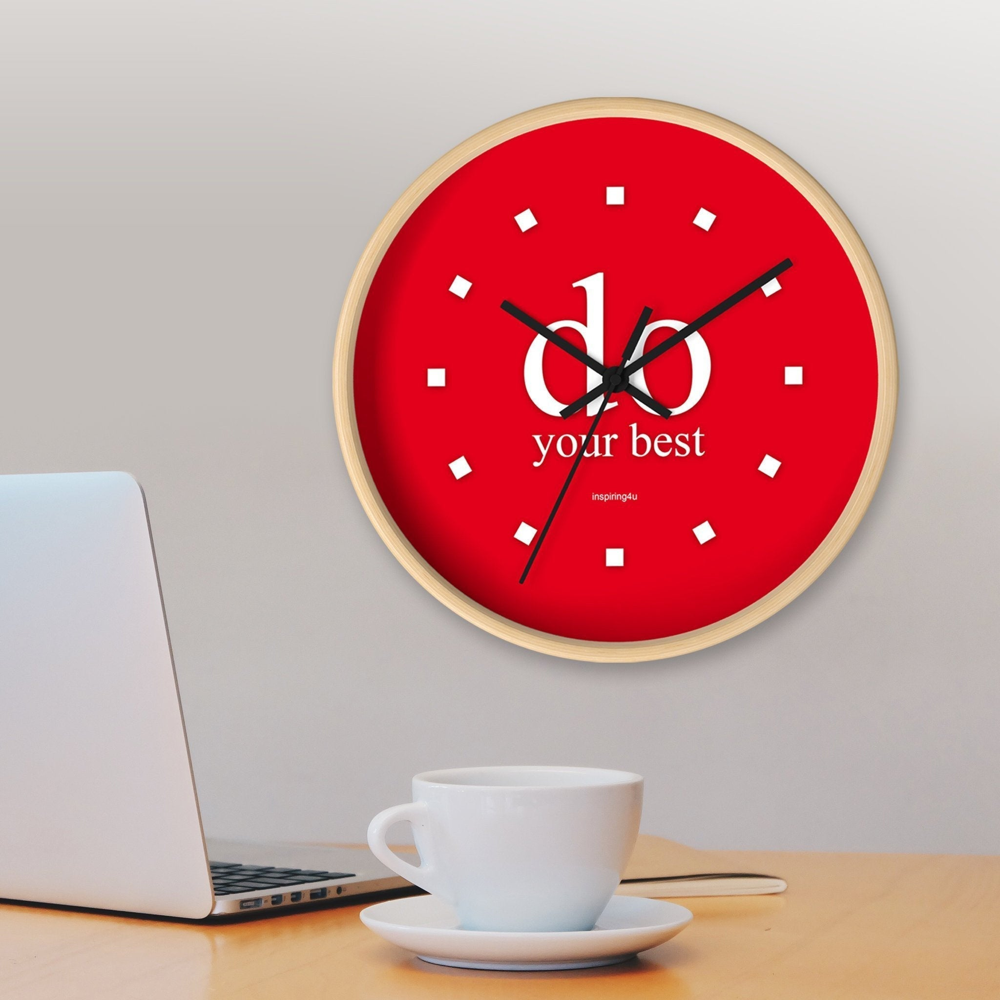 "Red Wall Clock ""do your best"". Special gift for her. Office wall decor clock with motivational quote."