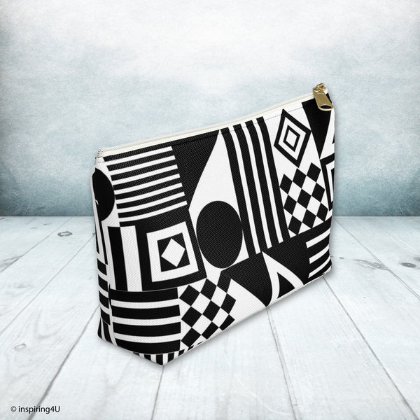 Black and White Accessory Pouch. Cosmetic travel bag. Special Gift for her.