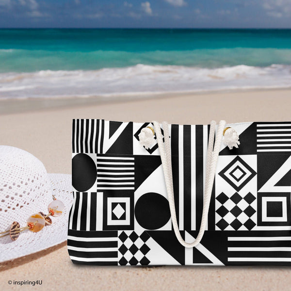 Durable Bag for Beach. Weekender Bag for Women. Black and White Texture. Weekend bag Gift for her.