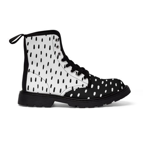 Streetwear Shoes, Burning man boots, Man high shoes, Military boots, Black and white canvas shoes, Black white fashion, Unique lace up boots