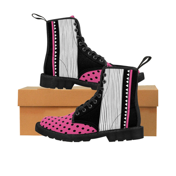 Magenta Black & White Texture. Women's Boots. Fashion Hiking Boots for women. Women's Canvas Lace Up Boots. Hiking and Walking Boots.