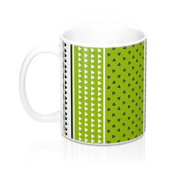 Green geometric mug, Triangles mug, Tea ceramic mug, Black white coffee mug, Office coffee mug, Mug with handle