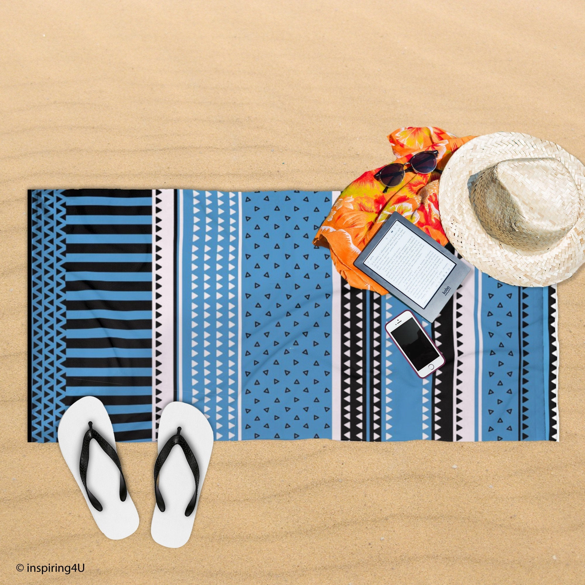 Blue Super Soft Sea Beach Towel. Cotton Pool Towel. Black and White Texture Towel. Gift for Her.