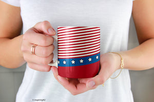 USA Flag Coffee Mug. 4th of July Ceramic coffee Mug 11oz.