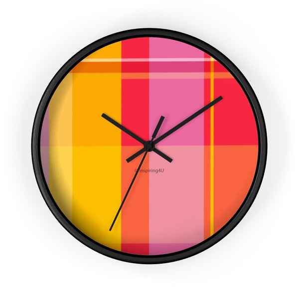 Colorful Wall Clock. Office Wall Decor Clock. Red, Pink & Orange Wall Clock. Gift for Her.