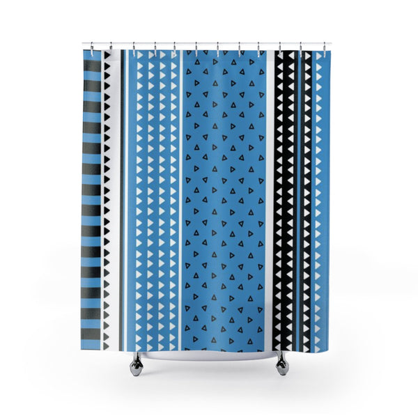 Blue Shower Curtain. Refreshing Bathroom Curtains Graphic Style.