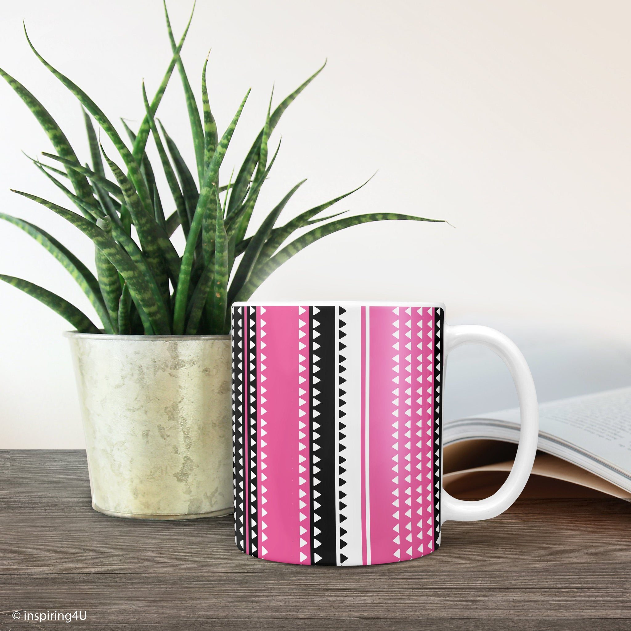 Pink ceramic coffee mug, Office tea mug, Triangles pattern mug, Black white coffee mug, Abstract geometric mug, Stripe mug