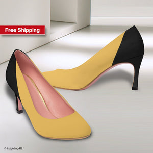 Women's high heels shoes, Black and mustard classic women's shoes, Elegant Shoes Women's classic heels for work, Elegant look pumps.
