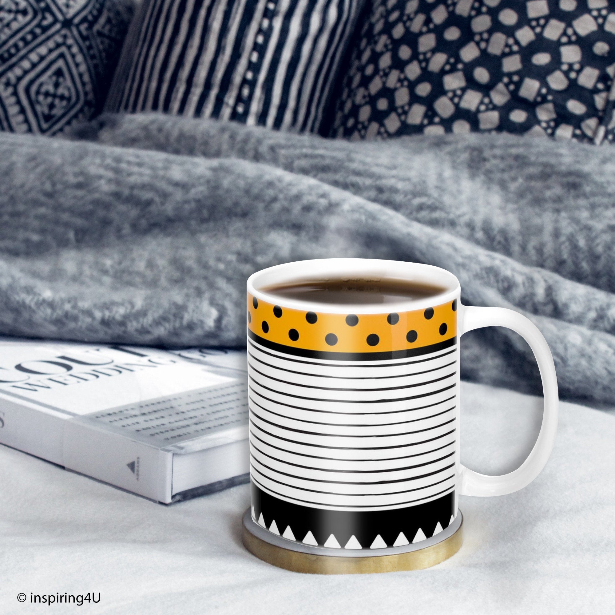 Yellow office coffee mug, Tea Ceramic mug Black white stripe mug, Geometric mug, Dots mug