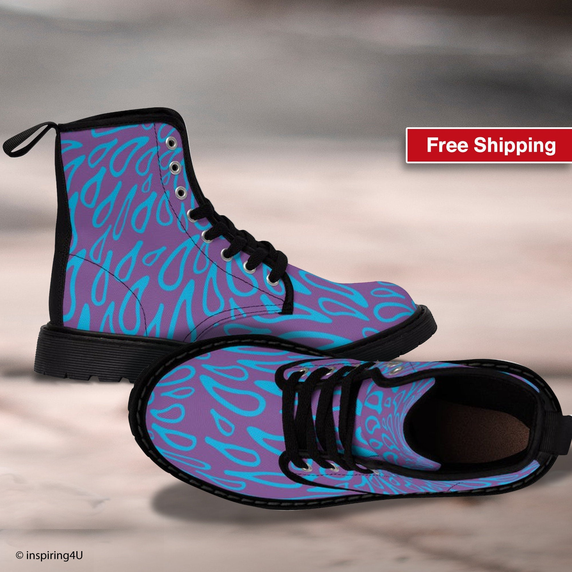 Purple Boots for women. Lace Up Boots. Fashion Hiking Boots. Women's Canvas Boots. Hiking and Walking Special Unique Fashion Boots.