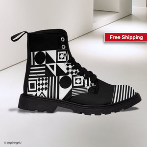 Hiking and Walking Boots. Unique Fashion Boots. Black and White Texture Lace Up Boots. Women's Special Canvas Boots.