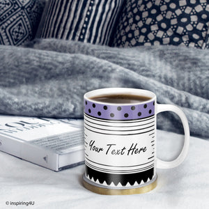Custom Mug. Personalized Coffee Mug. Create Your Own Mug. Design Your Own Mug. Purple, Black & White Ceramic Mug.