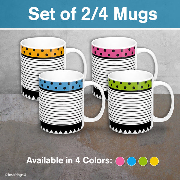 SET of 2 or 4 office coffee mugs, Set of Tea Ceramic mugs, Black white stripe mugs, Geometric mug, SET of Colorful Ceramic dots mug.