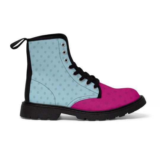 Pop Art High top Canvas Shoes, Streetwear Shoes, Military Boots for Women, Dots canvas shoes, Modern Art New fashion, Unique lace up boots