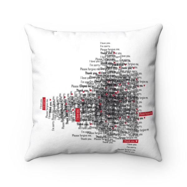 Spun Polyester Square Pillow with Ho'oponopono Self-healing sentences, Pillow with mantra healing quotes, Decorative pillow, Throw Pillow.