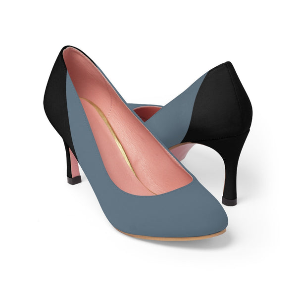 Blue-Grey color, Women's high heels shoes, Classic women's shoes, Elegant Shoes Women's classic heels for work, Elegant look