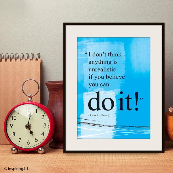 Do it quote poster. Positive thinking office wall decor print. Inspirational poster. Typography design. Graduation gift (PO-029)