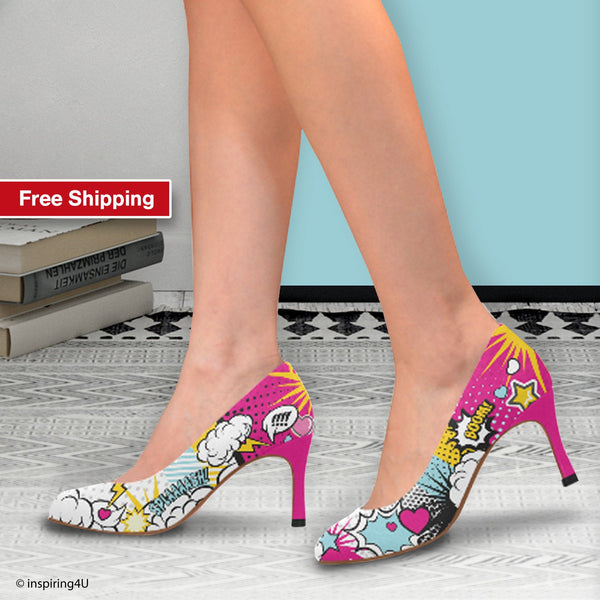 Comics Pop art shoes, Unusual heels shoes,  Street style woman shoes, Hot pink heels shoes, Crazy shoes, Cool women heels shoes, Comics gift