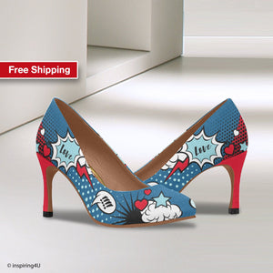 Blue Comics pop art shoes, Unusual heels shoes, Street style woman shoes, Blue & Red uniqe heels shoes, graffiti heels shoes for young women