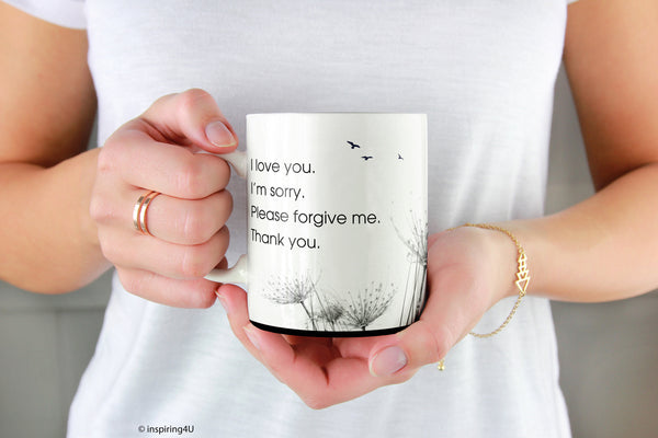 Ceramic Mug with Ho'oponopono Self-Healing Sentences. Mantra meditation quote coffee mug. Typography tea ceramic mug.