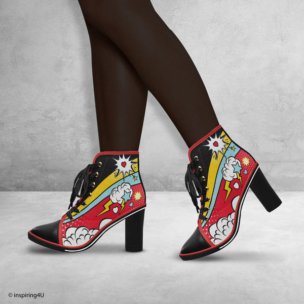 Comics Pop art shoes, Women's Canvas Lace Up Chunky Heel Ankle Boots. Street style woman shoes, Crazy shoes, Cool women graffiti heels shoes