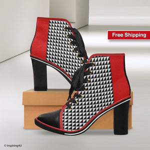 Black, White, Red Women's Canvas Lace Up Chunky Heel Ankle Boots. Pop art shoes, Unique and style heels shoes. Elegant style woman shoes.
