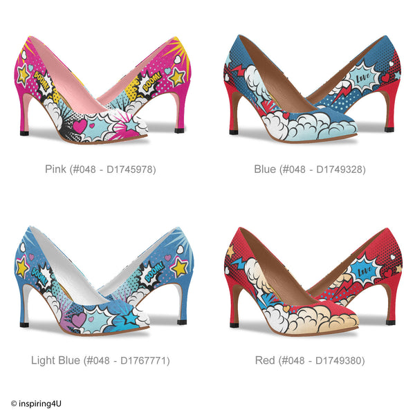 Comics Pop art shoes, Unusual heels shoes,  Street style woman shoes, Hot pink heels shoes, Crazy shoes, Cool women graffiti heels shoes.