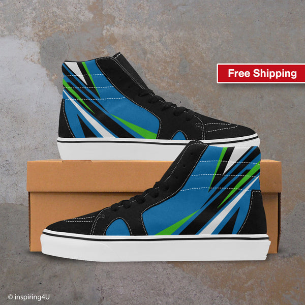 Men's High Top Canvas Shoes, Fashion shoes, Unique Shoes, Pop Art High Shoes, Cool man Streetwear shoes, Canvas shoes. (#E001-1)