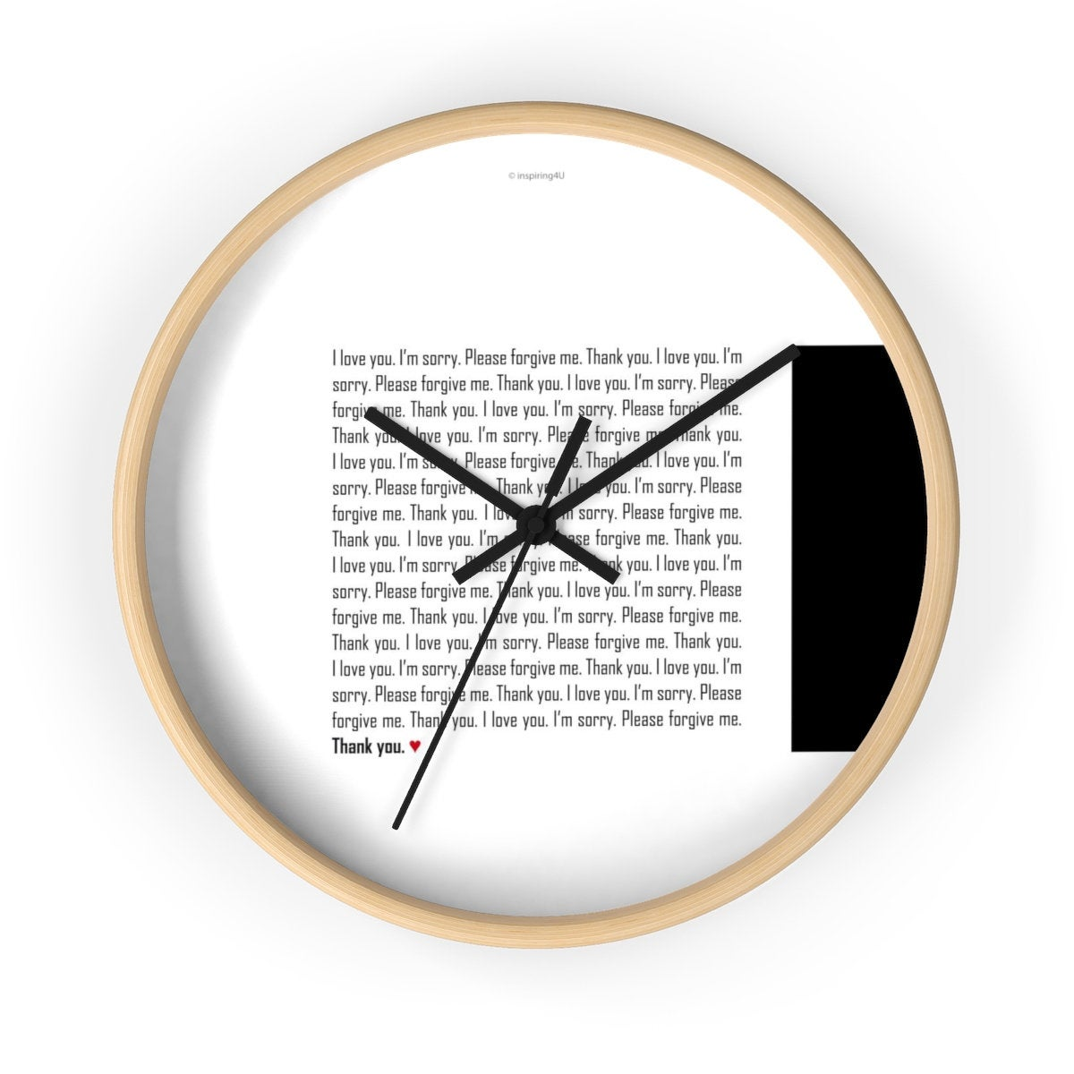 Ho'oponopono home and office wall décor, Healing sentences, Mantra quotes, Black & White clock, Hawaiian practice Hooponopono typography.