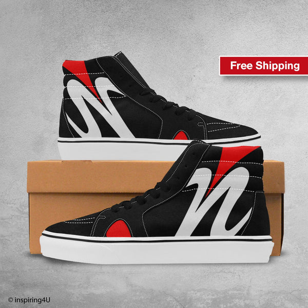 Men's High Top Streetwear. Young and fashion shoes. Men's Pop Art High Shoes, Cool Canvas shoes. Fashionable shoes. Unique Shoes (#E001-1)