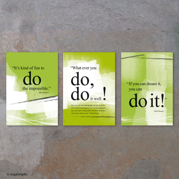 SET of 3 prints. Walt Disney you can do it quote poster. Motivational poster. Office wall decor. Positive thinking. Graduation gift (PO-025)