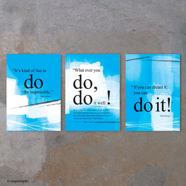 SET of 3 inspirational prints. Walt Disney you can do it quote poster. Motivational poster. Office wall decor. Positive thinking. (PO-025)