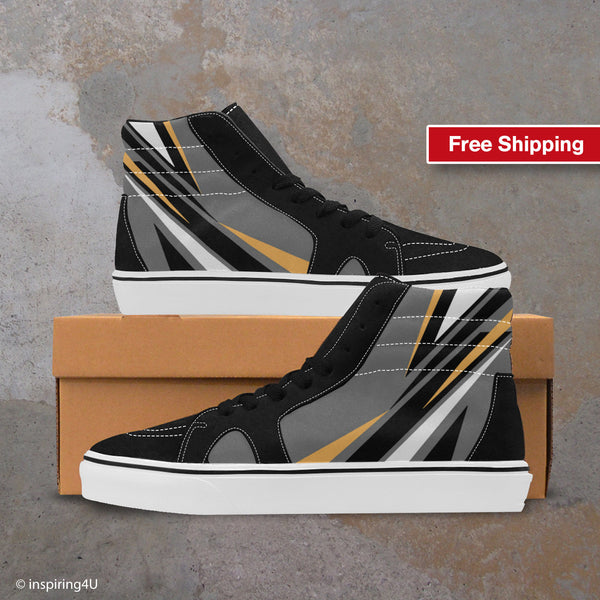 Men's Cool Streetwear shoes, Canvas shoes. Men's Pop Art High Shoes, Men's High Top Canvas Shoes, Fashion shoes, Unique Shoes, (#E001-1)