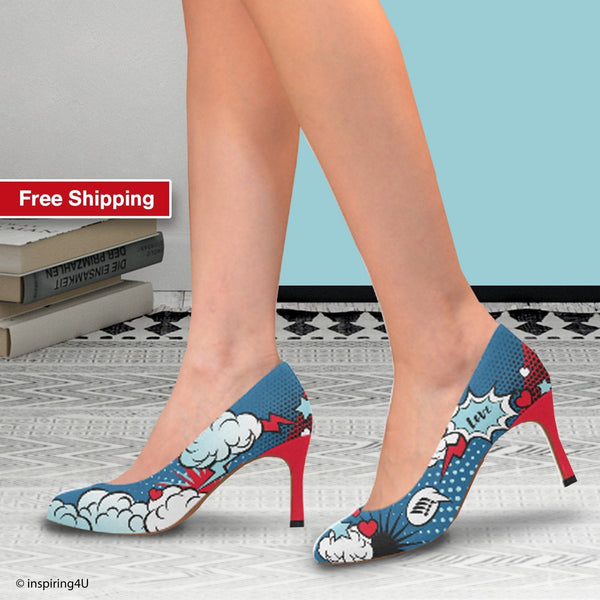 Unusual Cool heels shoes for young women. Comics pop art shoes, Street style woman shoes, Blue & Red uniqe heels shoes, graffiti heels shoes