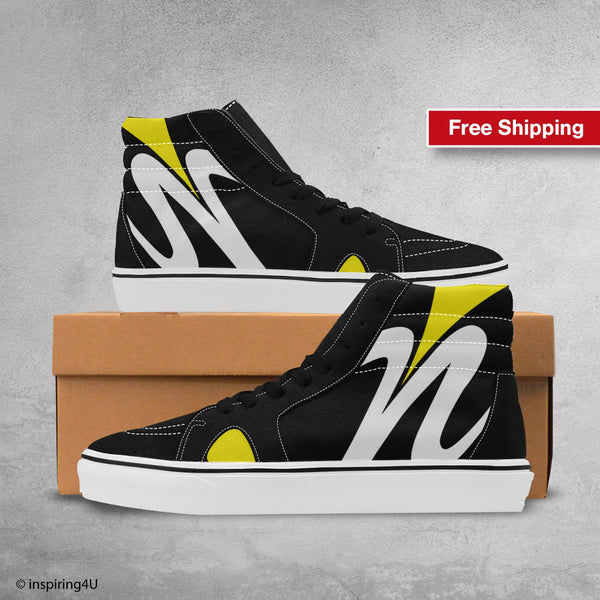 Men's High Top Streetwear shoes for young and fashion look. Pop Art High Shoes, Cool man Canvas shoes. Fashion shoes, Unique Shoes (#E001-1)