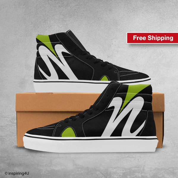 Men's Fashion shoes, Men's High Top Streetwear shoes for young and fashion look. Pop Art High Shoes, Cool & Unique Canvas shoes. (#E001-1)
