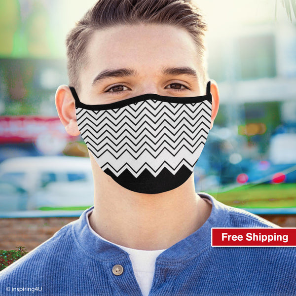 Breathable, Washable, Reusable, Soft polyester Face mask, Black white Travel Handmade Mask. Unisex Recycled mask. Nose mouth fabric mask.
