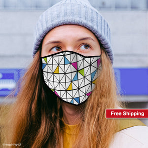 Fashion Colorful pattern face mask, Handmade dots fabric mask. Soft polyester Reusable mask. Unisex Recycled mask, Washable nose mouth mask.