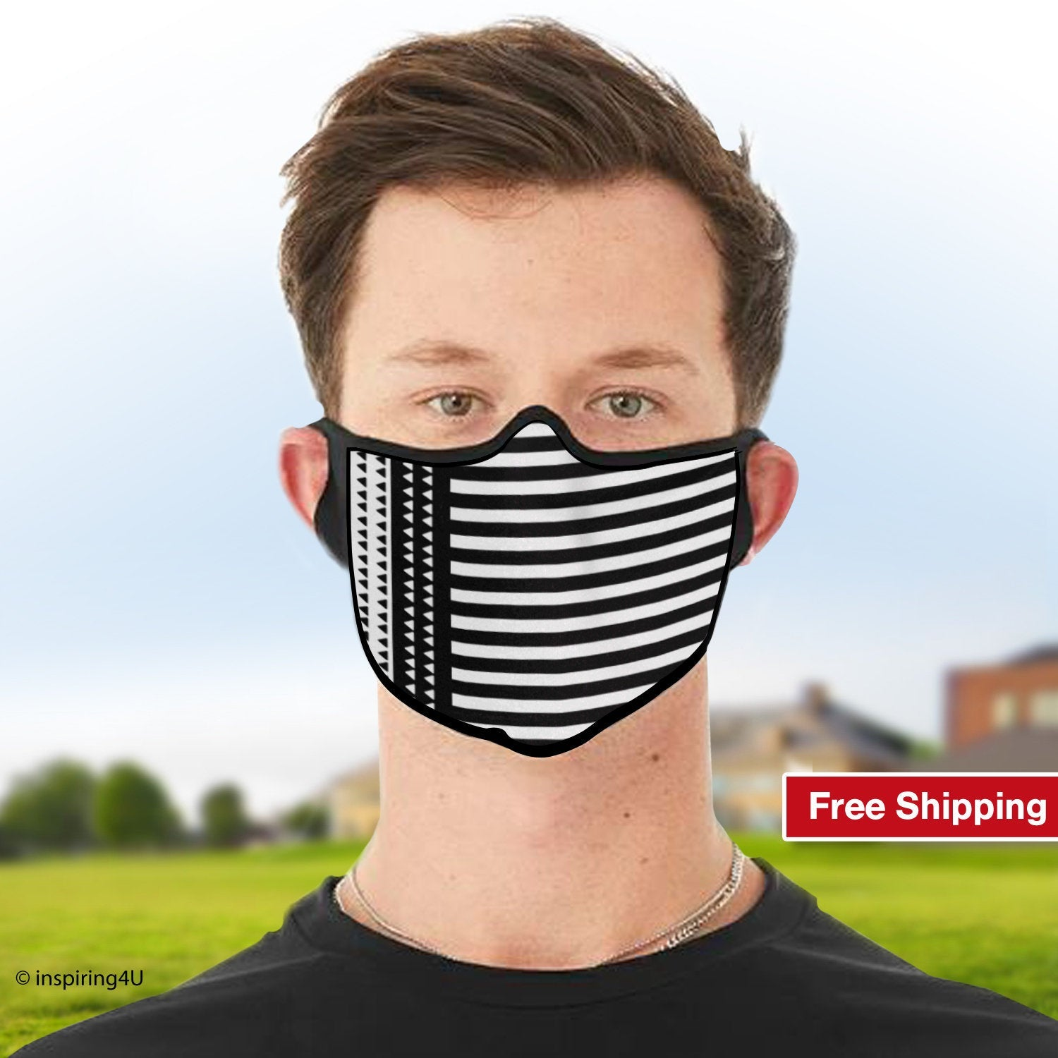 Washable, Breathable, Reusable, Soft polyester Face mask, Travel handmade mask. Unisex recycled mask. Nose mouth black white fabric mask.