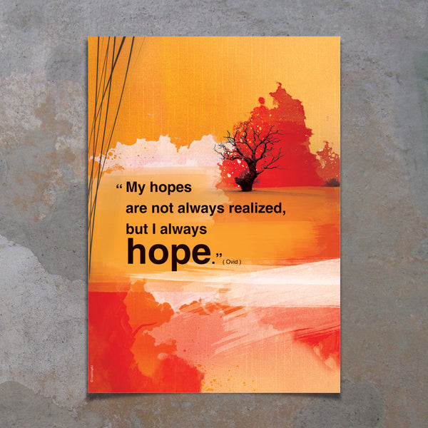 A3 Inspirational poster with hope quote. Positive thinking for office wall decor. Inspiring quote poster for Graduation gift (PO-A3-012)