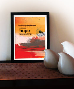 """Nothing is hopeless"". Inspiring quote poster. Inspirational poster with hope quote. Positive thinking for office wall decor or graduation gift (PO-014)"
