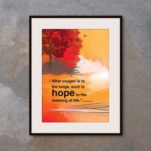 """Hope...Meaning of life"". Motivational poster with hope quote. Positive thinking for office wall decor. Inspirational poster. Inspiring quote poster (PO-013)"