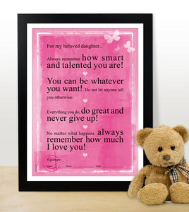 For my beloved daughter. Motivational poster for children. Inspiring poster. Motivate children. (PO-019)