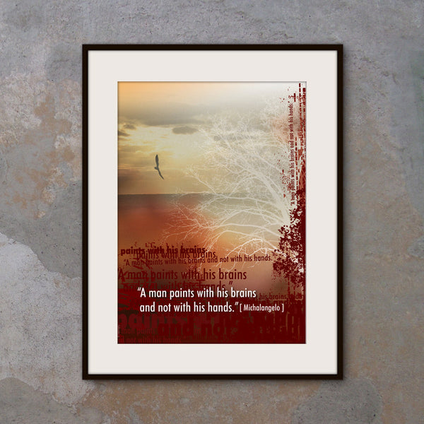 A3 Office wall decor Inspirational poster.Michelangelo quote. Modern art poster typography design. Burgundy wall art. (PO-A3-026)