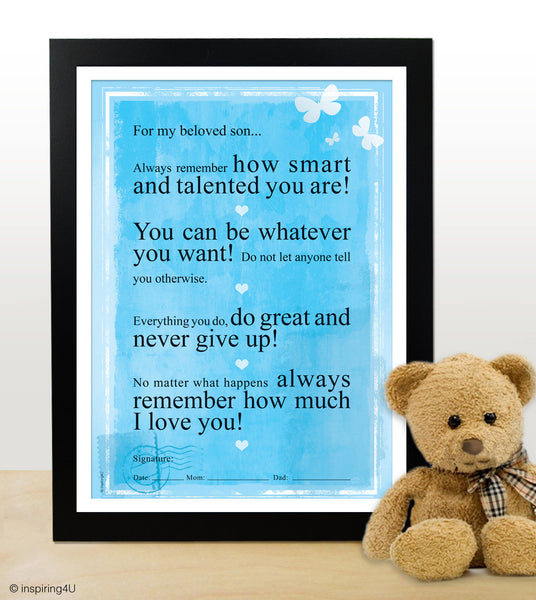 For my beloved son. Motivational poster for children. Inspiring poster. How to motivate children. Graduation gift (PO-020)