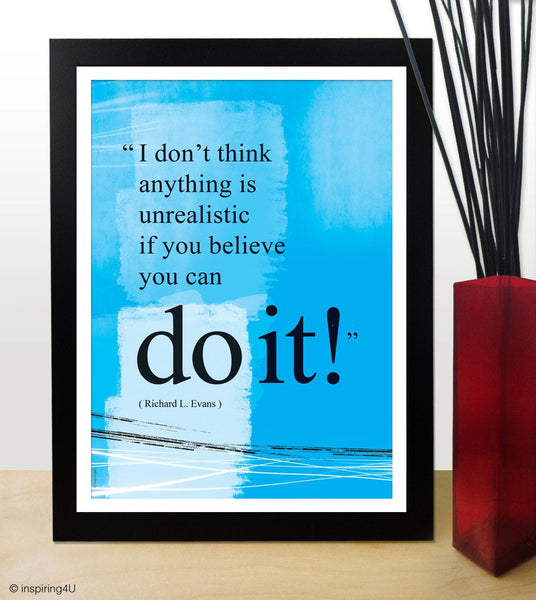 A3 You can do it quote poster. Positive thinking office wall decor. Inspirational poster. Typography design. Graduation gift (PO-A3-029).