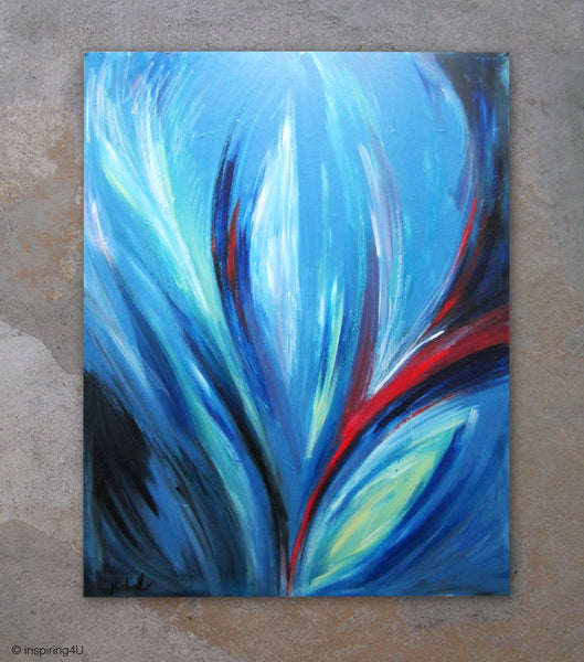 Original Abstract Acrylic Painting. Stretched Canvas. one of a kind. Home decor wall art. Office wall decor. Red & Blue Fine Art (CN-002)