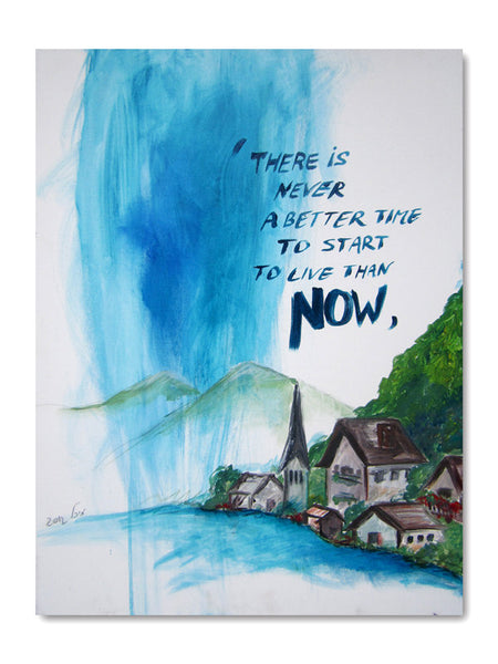 Original Abstract Painting of Hallstatt Austria. Canvas. Painting Inspiration for Home Decor Art. Office Decor. Fine Art (CN-001)