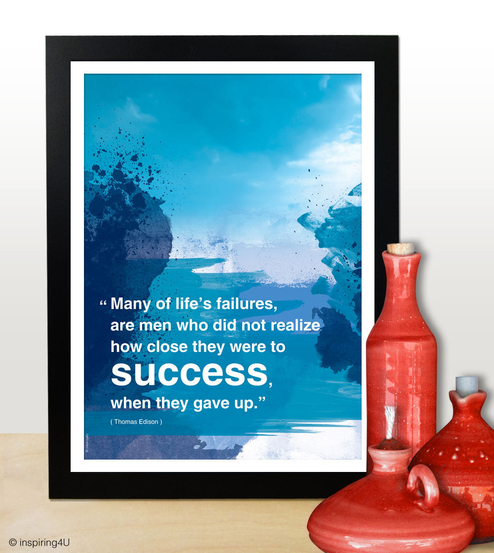 Turquoise Blue, Modern art, Motivational poster, Inspiring words, Office design wall decor. Inspiring quote graduation gift poster (PO-009)
